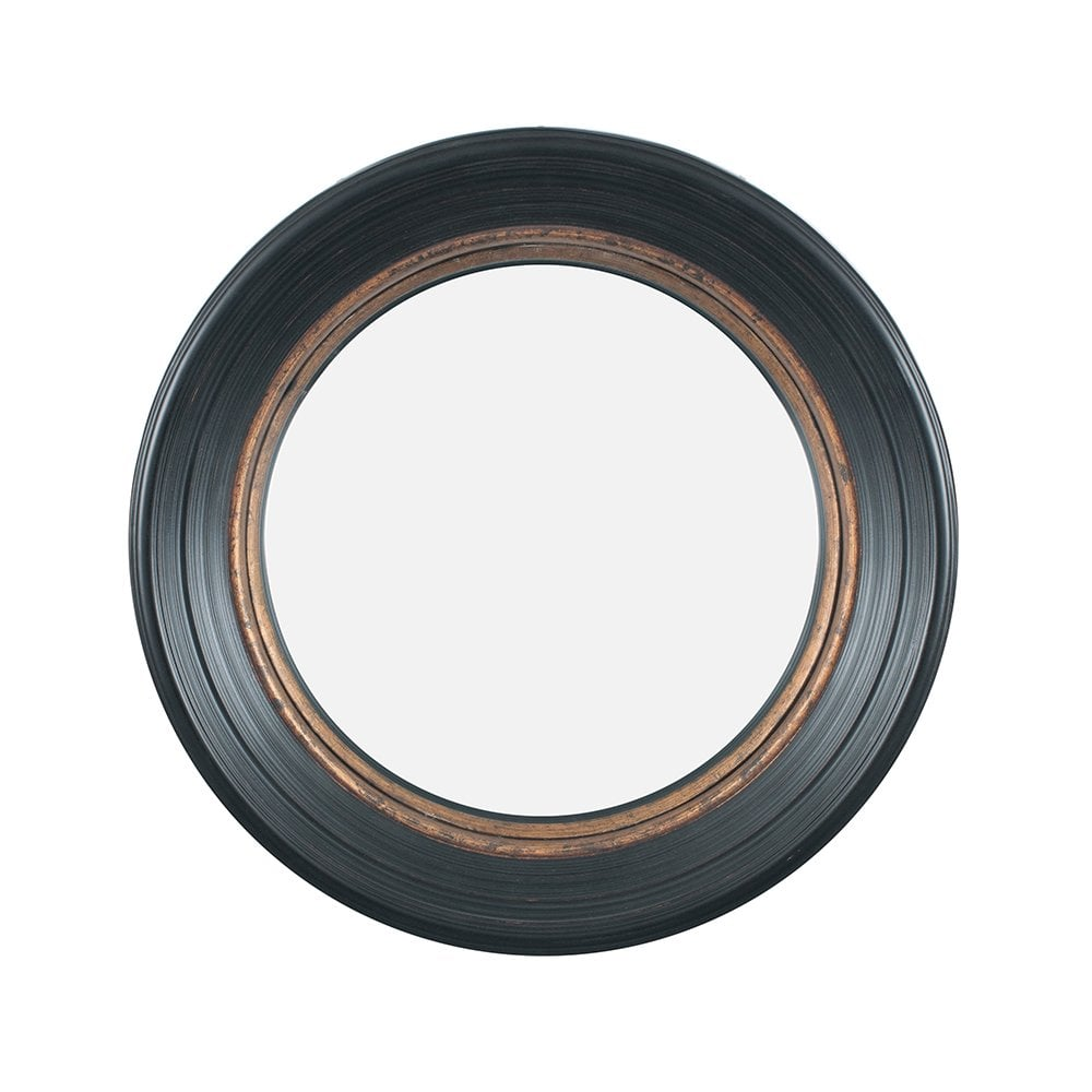 Small Round Mirror Black and Gold Pacific Lifestyle 73-035