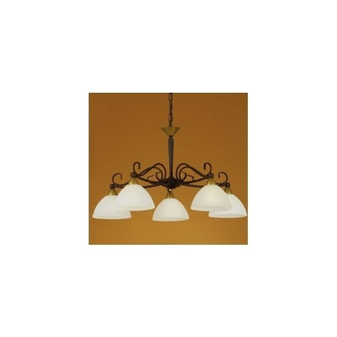 Eglo 85447 Medici 5 light traditional ceiling light pendant antique brown finish
