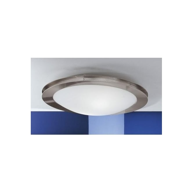 Eglo 27498 Sirio 1 light modern ceiling light flush opal and nickle matt finish