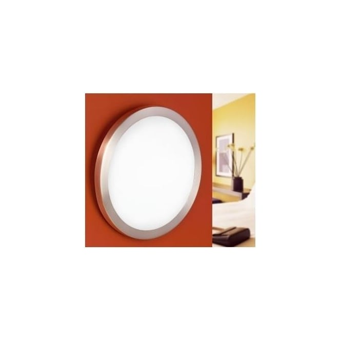 Eglo 87329 Arezzo 1 light modern ceiling light flush opal and nickle matt finish (medium)