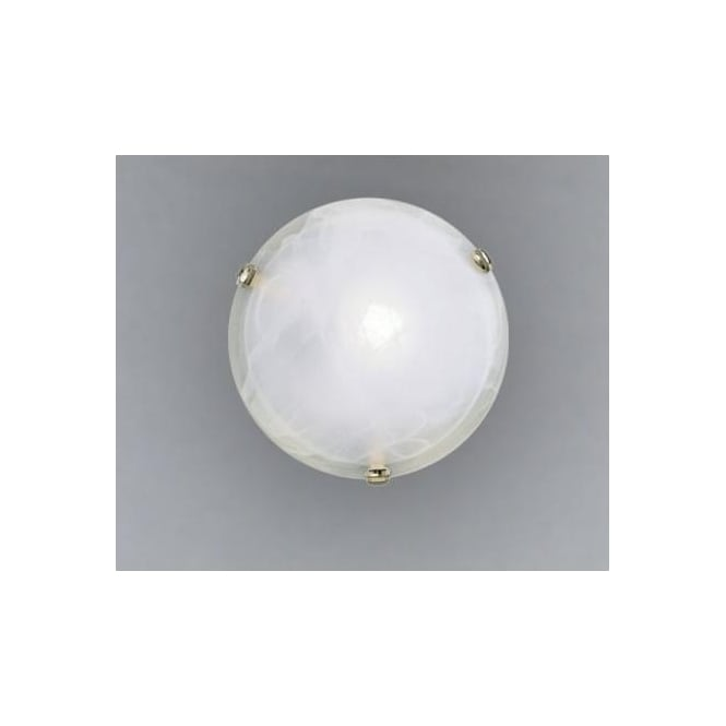 Eglo 7185 Salome 1 light traditional flush ceiling light alabaster glass brass coated finish small