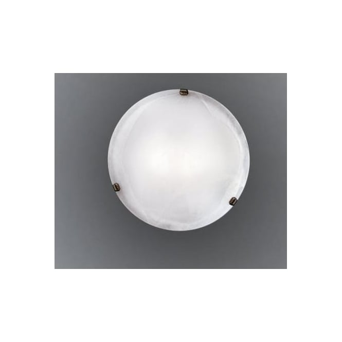 Eglo 7901 Salome 2 light traditional flush ceiling light alabaster glass antique brass finish large