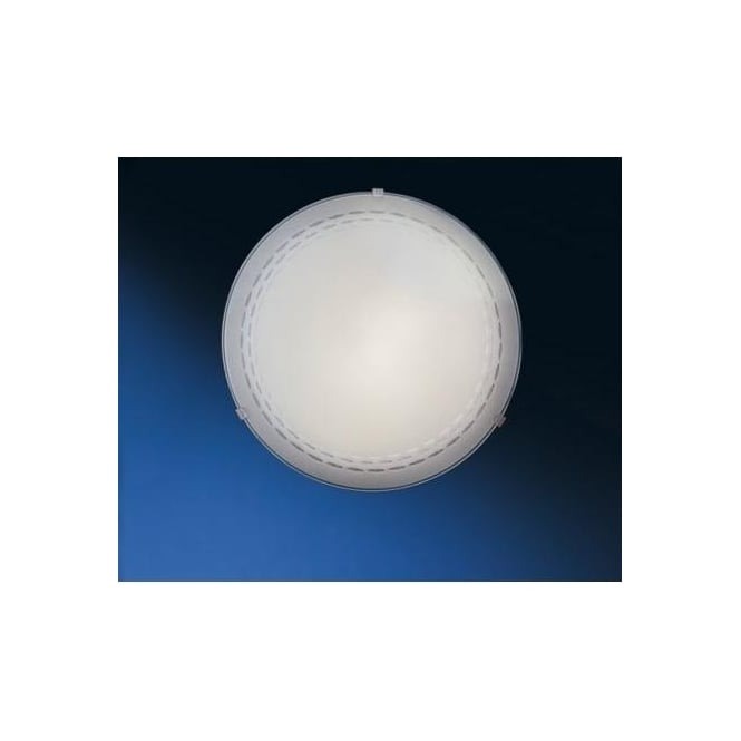 Eglo 82893 Twister 1 light traditional flush ceiling light patterned white frosted glass small