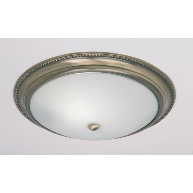 Endon 91121 2 Light Traditional Flush Ceiling Light IP20 Rated Opal Glass Antique Brass Finish