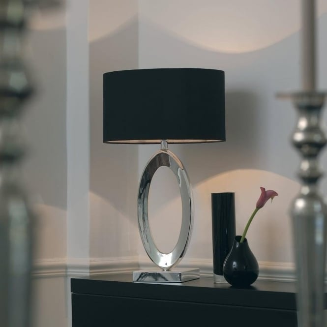 Nerino Envisage 1 Light Modern Table Lamp Silk Black Shade Grey Silk Inner  Silver Plated Finish