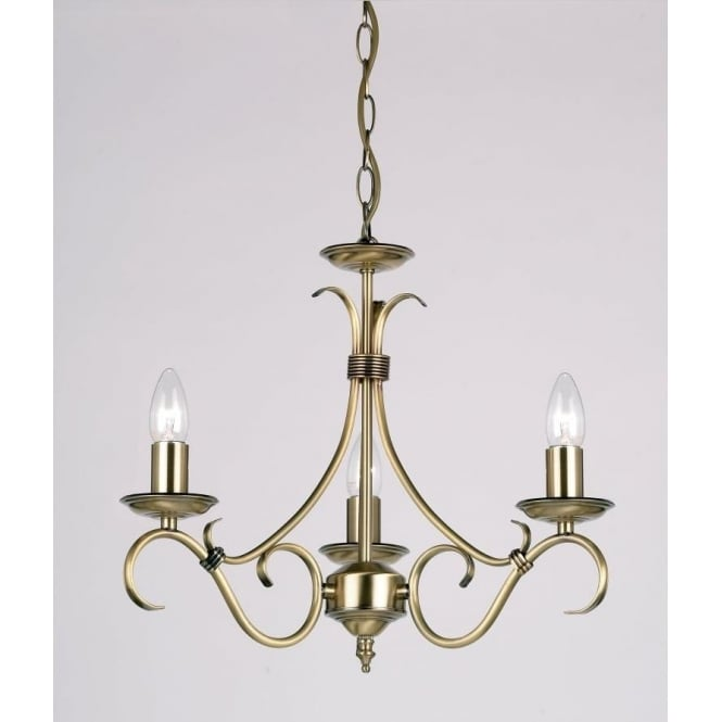 Endon 2030-3AN Bernice 3 Light Ceiling Pendant Light Antique Brass