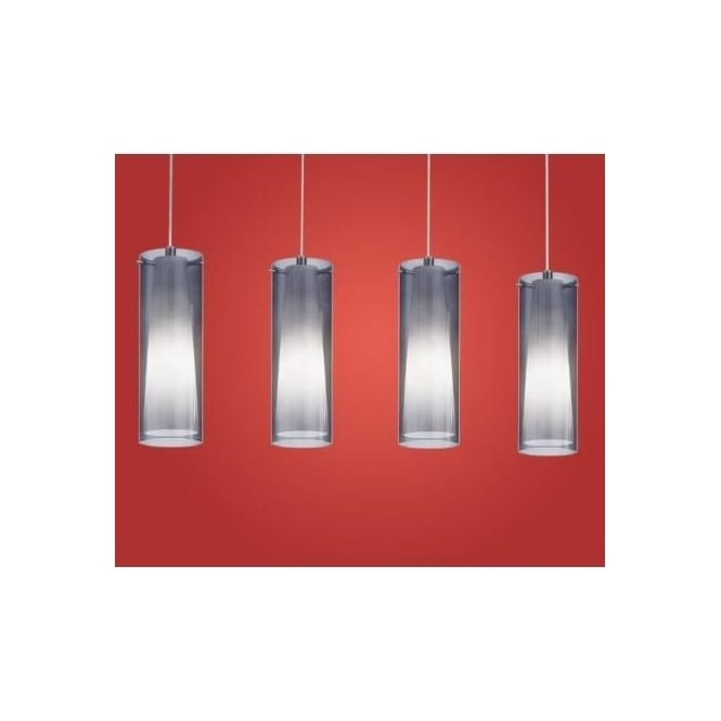 Eglo 90306 Pinto Nero 4 light modern pendant ceiling light nickel matt finish with black transparent shades