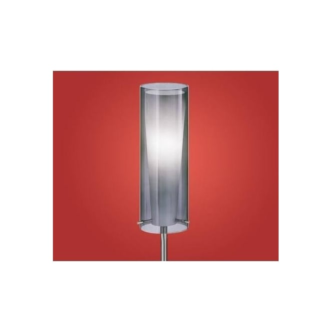 Eglo 90309 Pinto Nero 1 light modern floor lamp nickel matt finish with a black transparent shade