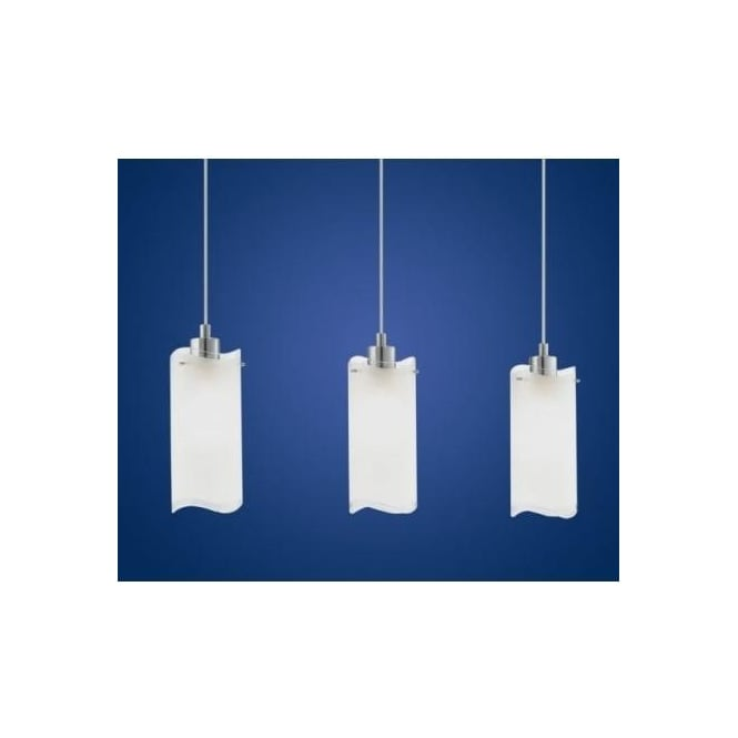 Eglo 90339 Felice 3 light modern pendant ceiling light nickel matt finish with clear/satinated shades