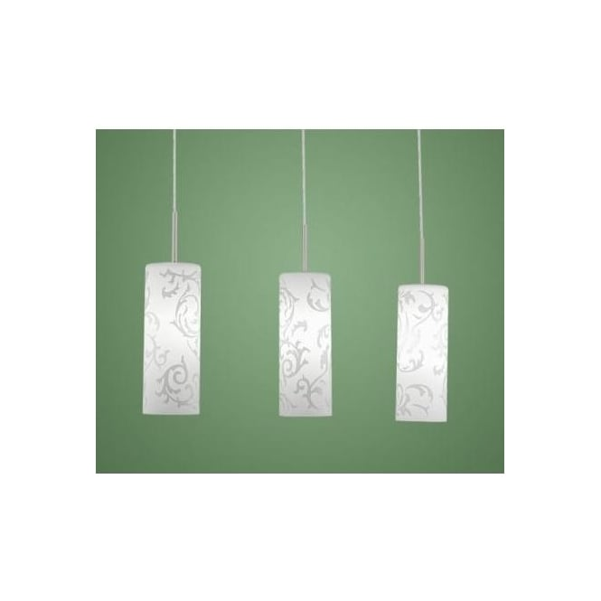 Eglo 90048 Amadora 3 light modern pendant ceiling light nickel matt finish with white patterned glass shades