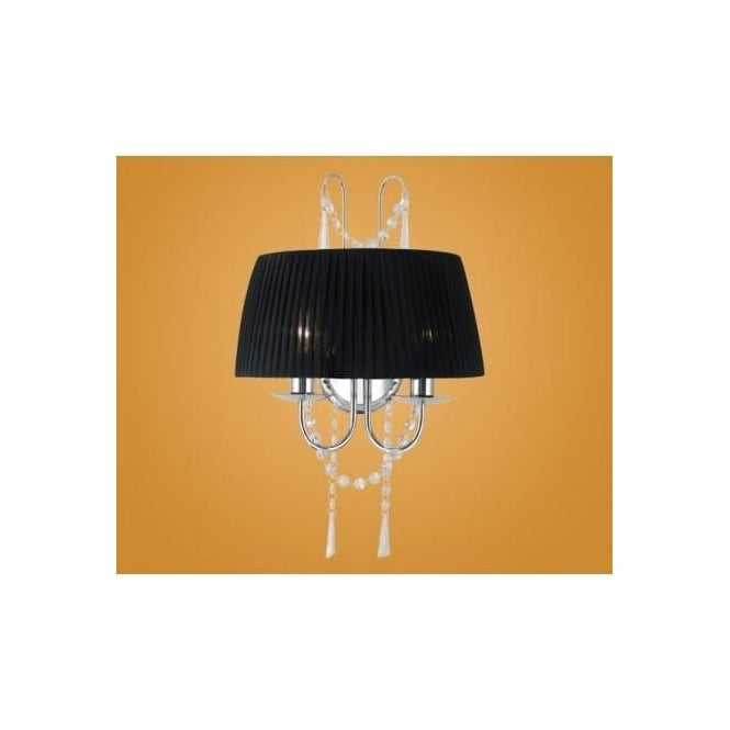Eglo 89035 Diadema 2 light modern crystal chandelier wall light black organza shade chrome finish