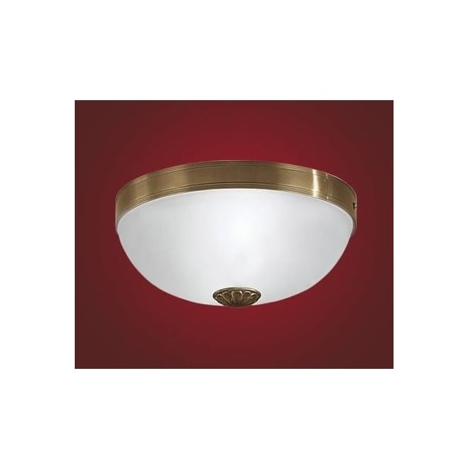 Eglo 82741 Imperial 2 light traditional ceiling light flush burnished brass finish