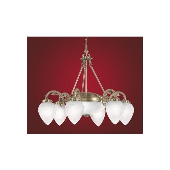 Eglo 82743 Imperial traditional 8 light ceiling light pendant burnished brass finish