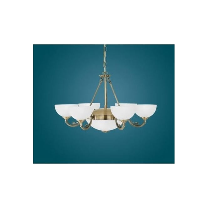 Eglo 82749 Savoy 8 light traditional ceiling light pendant burnished brass finish