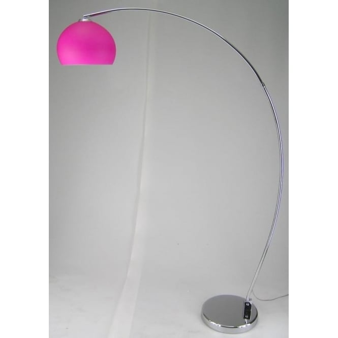 LRFLOORPINK 1 Light Modern Floor Lamp Pink And Polished Chrome