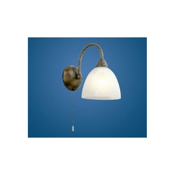 89898 dionis 1 light traditional wall light rusty finish with an alabaster glass shade switched