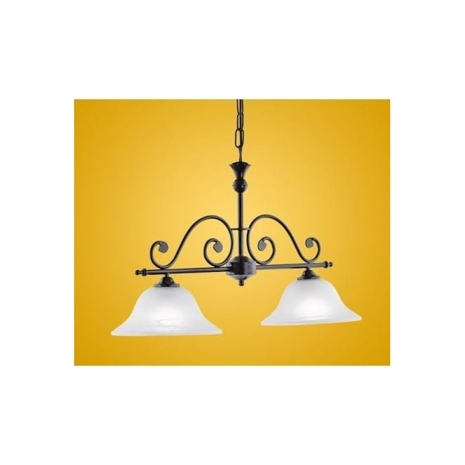 Eglo 91004 Murcia 2 light traditional pendant ceiling light black finish with alabaster white glass shades