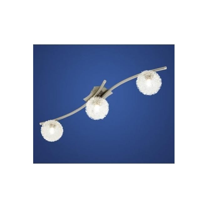 Eglo 90611 Pescara 3 light modern flush ceiling/wall light nickel matt finish with glass shades