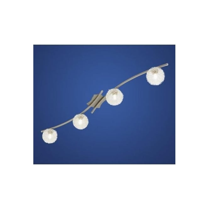 Eglo 90612 Pescara 4 light modern flush ceiling/wall light nickel matt finish with glass shades