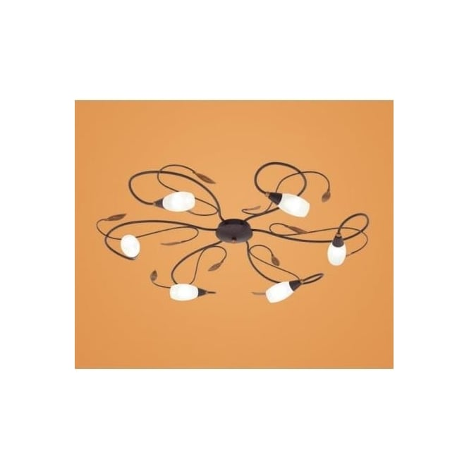 Eglo 90697 Gerbera 1 6 light modern flush ceiling light antique brown/gold finish glass shades
