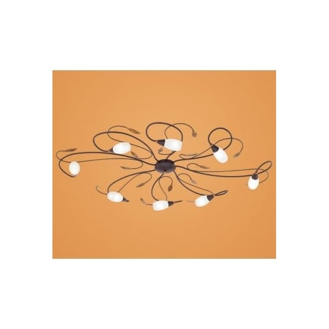 Eglo 90698 Gerbera 1 8 light modern flush ceiling light antique brown/gold finish glass shades