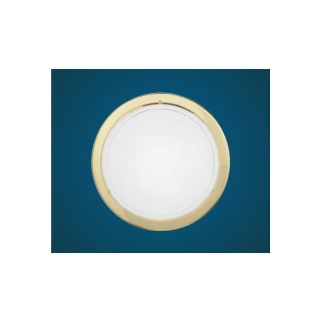 Eglo 83157 Planet 1 1 light modern wall/ceiling light brass finish with a satinated glass shade