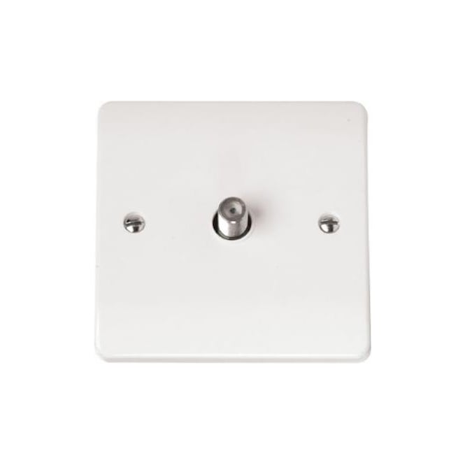 Click Mode CMA156 1 gang satellite socket outlet brilliant white plastic
