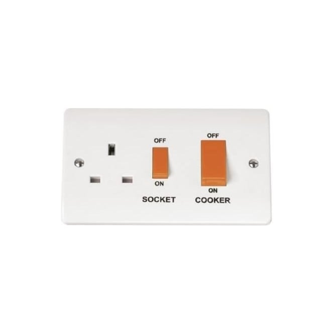 Click Mode CMA204 45 amp cooker switch with 13 amp switched socket outlet brilliant white plastic