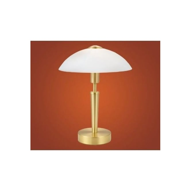 Eglo eglo 87254 solo1 1 light modern table lamp domed white 87254 solo1 1 light modern table lamp domed white frosted glass shade brass coated finish touch mozeypictures Images