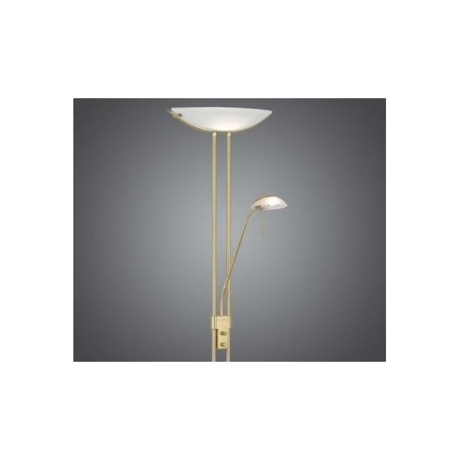 Eglo 85973 Baya 2 light traditional floor lamp brass matt finish satinated glass dimmer switch