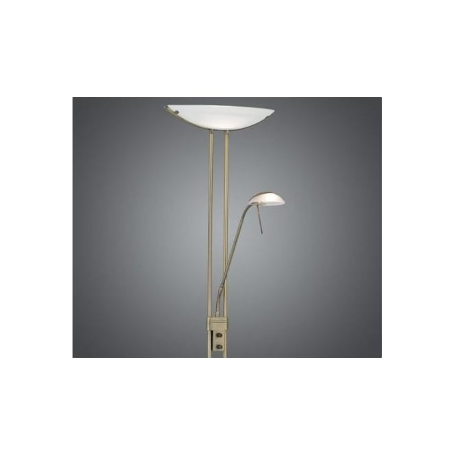 Eglo 85974 Baya 2 light traditional floor lamp bronzed finish satinated glass dimmer switch