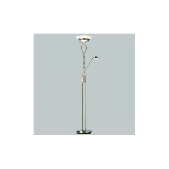 Endon Monaco-AN 2 light modern floor lamp antique brass finish rotary dimmer