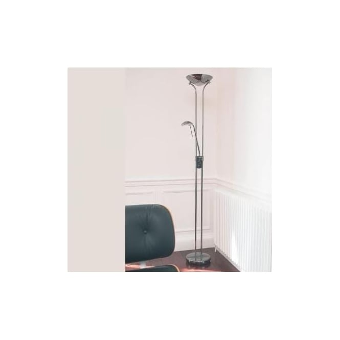 Endon ROME-CH 2 Light Modern Mother & Child Floor Lamp Polished Chrome Finish Rotary Dimmer