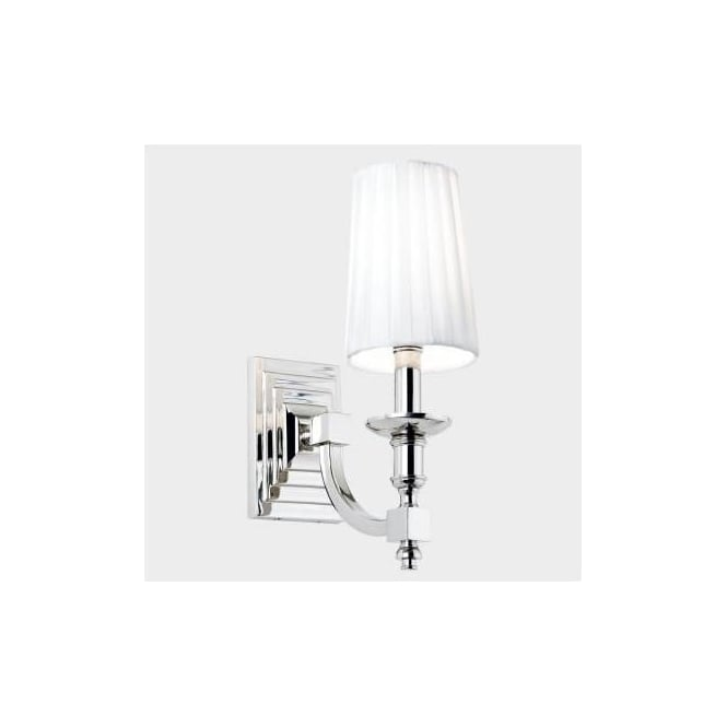 Endon Domina-1WBNI Domina Envisage 1 Light Modern Wall Light Nickle Finish White Pleated Shades
