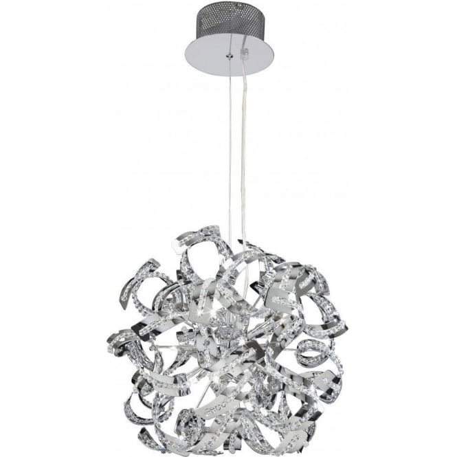 Endon TWIST-9CH Twist 9 Light Ceiling Pendant Chrome