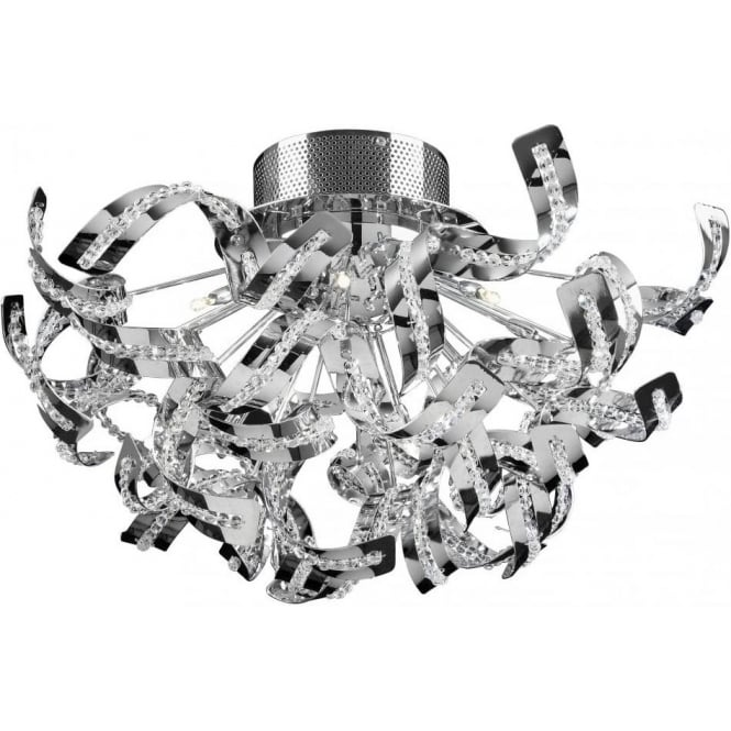 Endon TWIST-12FCH Twist 12 Light Ceiling Light Chrome