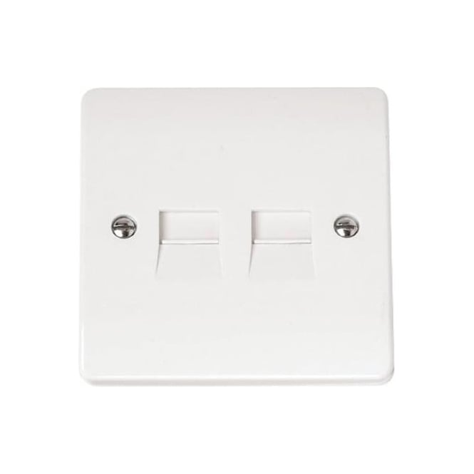 Click Mode CMA122 Twin UK Telephone Outlet Master Brilliant White Plastic