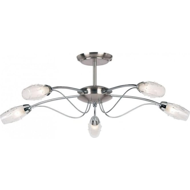 timeless design 1f823 6a675 9009-5SC Mercury 5 Light Ceiling Light Satin Chrome