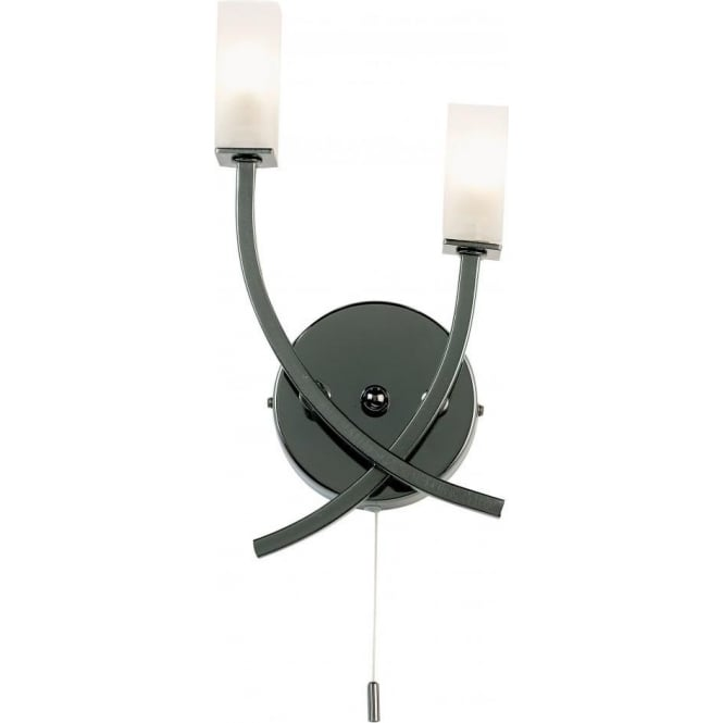 Endon 146-2BC Havana 2 Light Switched Wall Light Black Chrome