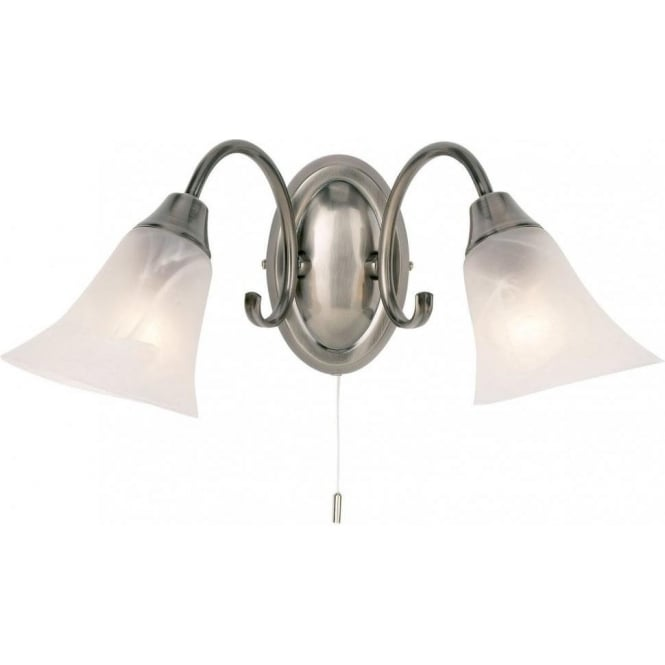 Endon 144-2AS Hardwick 2 Light Switched Wall Light Antique Silver
