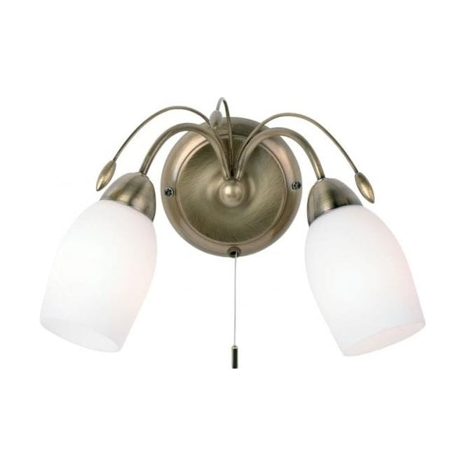 Endon 2007-2AN Meadow 2 Light Switched Wall Light Antique Brass