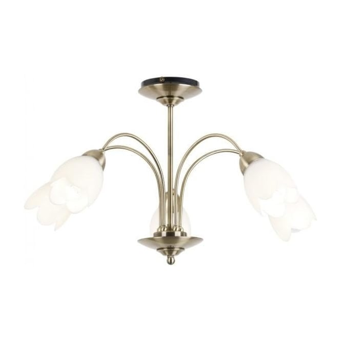 Endon 124-5AB Petal 5 Light Ceiling Light Antique Brass