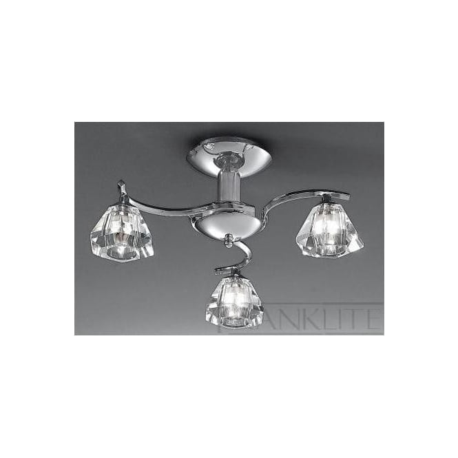 Franklite FL2162/3 Twista 3 Light Crystal Ceiling Light Polished Chrome
