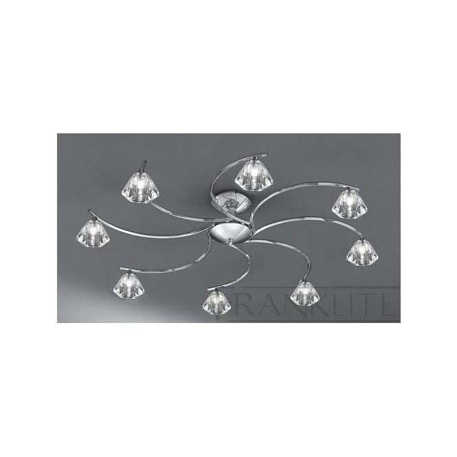 Franklite FL2162/8 Twista 8 Light Crystal Ceiling Light Polished Chrome