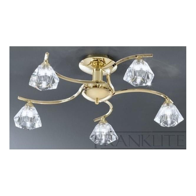 Franklite FL2230/5 Twista 5 Light Crystal Ceiling Light Polished Brass