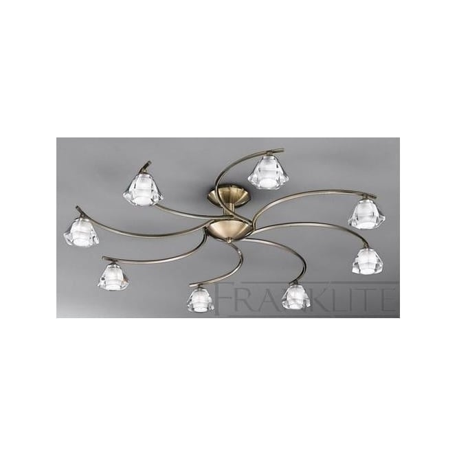 Franklite FL2163/8 Twista 8 Light Crystal Ceiling Light Antique Brass