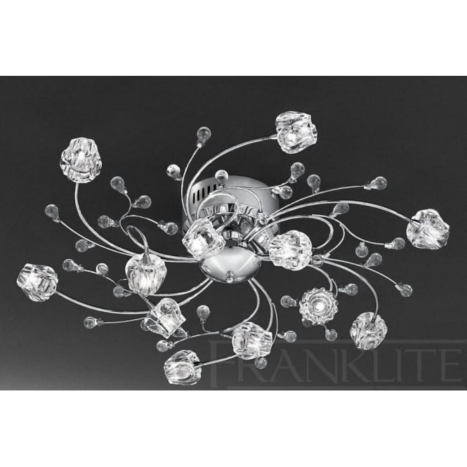 Franklite FL2168/12 Podette 12 Light Ceiling Light Polished Chrome