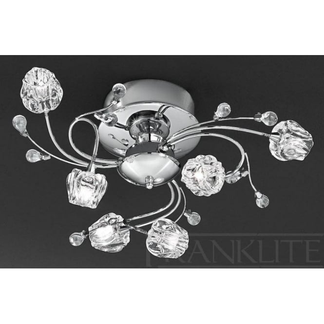 Franklite FL2168/6 Podette 6 Light Ceiling Light Polished Chrome