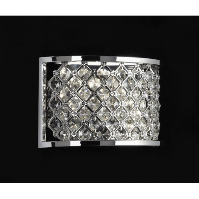 Endon HUDSON-2WBCH Wall Light Hudson 2 Light Crystal Wall Light
