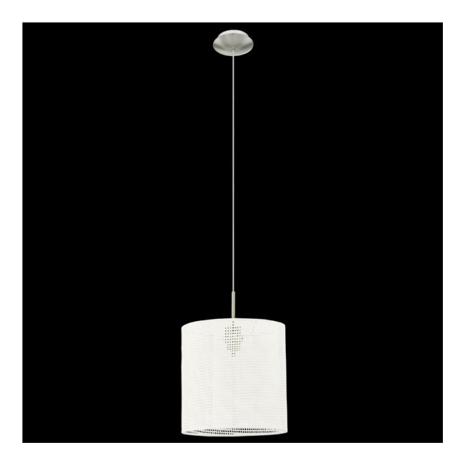 Eglo 91283 Kalunga 1 Light Pendant Satin Nickel Linen Fabric